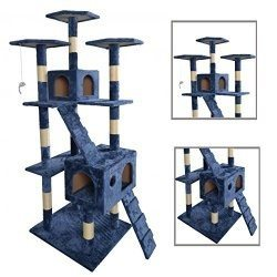 "BestPet Cat Tree, 73"", Navy Blue"
